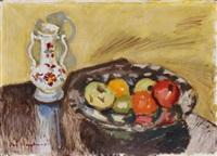 stillleben mit früchten und vase by ivo hauptmann