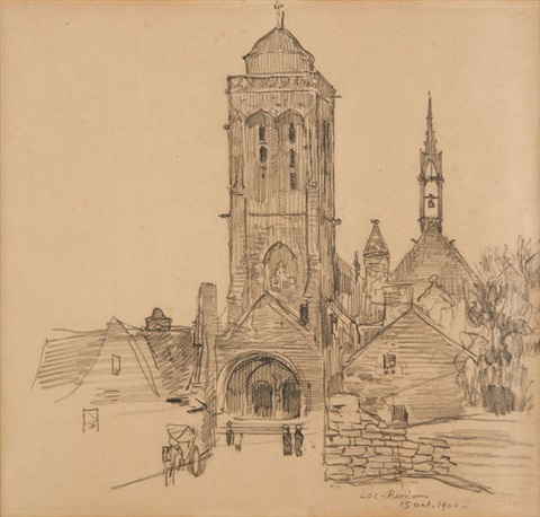 vue du village de locronan en bretagne by théo van rysselberghe