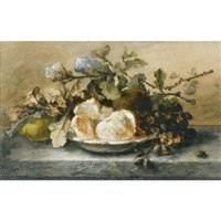 a still life with fruit on a ledge by margaretha roosenboom