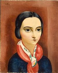 jeune femme brune au foulard by moïse kisling