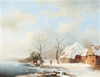 winter landscape with riders near a farm by frederik marinus kruseman