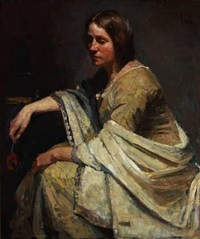 a woman in olive green dress with a light shawl by herman albert gude vedel