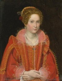 portrait of a lady, half-length, dressed in pink by ottavio maria leoni