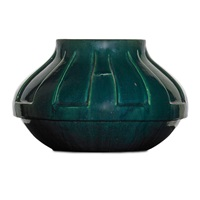 squat paneled vessel by pewabic pottery