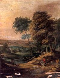 cavalier sur le chemin près de la ferme by willem van den bundel