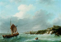 a sailing vessel at full sail, approaching a harbour by frans jacobus van den blyk
