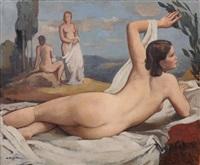 liegender weiblicher rückenakt (hilde) by johannes beutner
