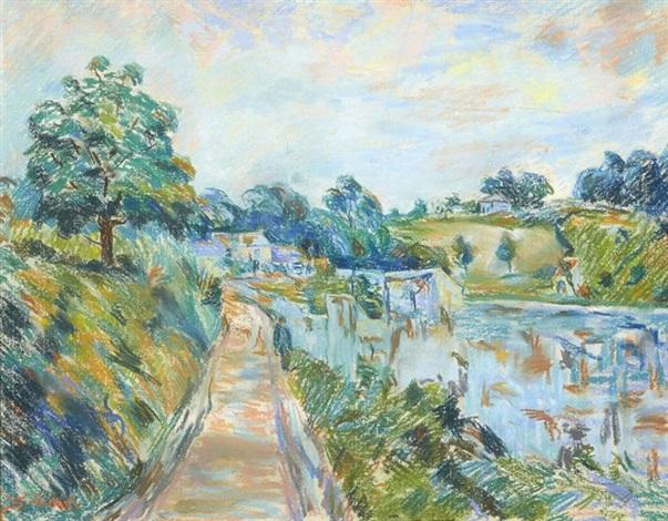 promeneur au bord de la riviere by armand guillaumin
