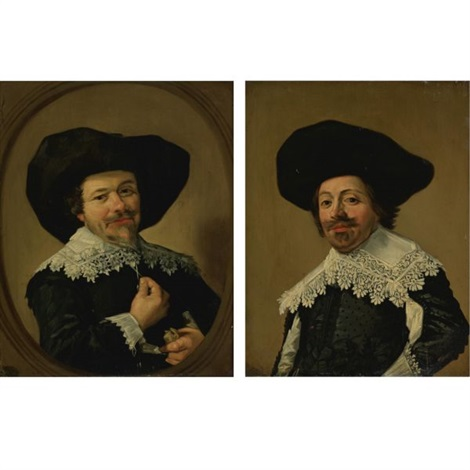 portrait of a man pulling on the tassels of his collar portrait of a man with a broad brimmed hat pair by frans hals the elder
