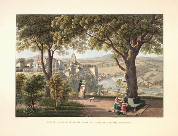 vue de la ville de berne prise de la promenade des remparts (engraved by j. hürlimann) by gabriel ludwig lory