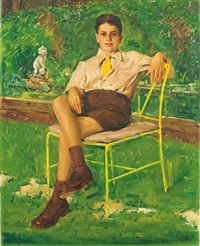 portrait of a seated child in a garden by ludwig blum