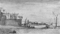 coastal landscape, with boats by the walls of a town, and a church behind by abraham de verwer