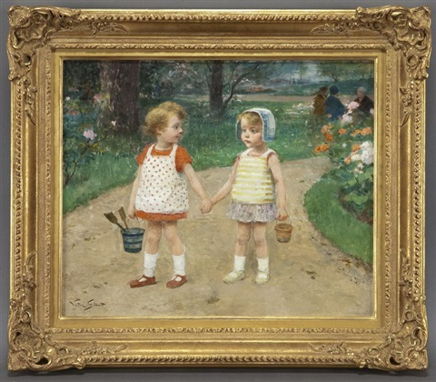two children with buckets by victor gabriel gilbert