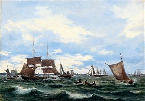 ships on the sound øresund by daniel hermann anton melbye