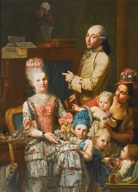 portrait of antonio ghedini and his family by giuseppe baldrighi