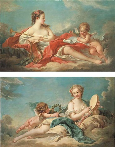 clio the muse of history and song erato the muse of love poetry pair by françois boucher