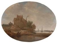 holländische flusslandschaft mit gehöft und taubenhaus by jan coelenbier
