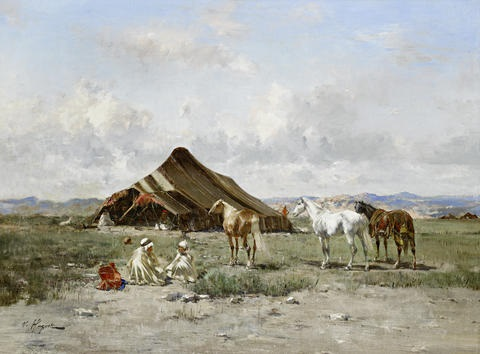 an arab encampment by victor pierre huguet