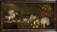 nature morte au gibier, aux fruits, aux légumes et aux poissons by alexander adriaenssen