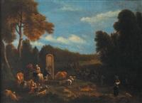 pâtres et leur troupeau à la fontaine by theobald michau
