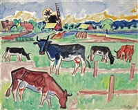 cows in a meadow by max pechstein