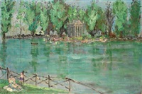 giardino del lago in villa borghese with the temple of aesculapius by armando spadini
