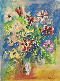 bouquet d'anémones de tulipes et de mimosa by jean dufy