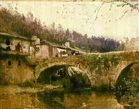 vista de pueblo con puente by manuel alcover