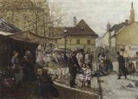 a bustling market scene by j. sellenati