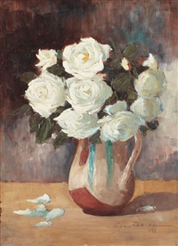jug with white roses by eugenia filotti atanasiu