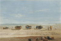 great yarmouth beach after a gale, drifted sand, near forres, on great yarmouth beach (4 works) by samuel dukinfield swarbreck