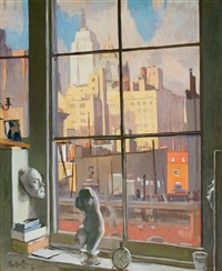 view from studio window, new york by george oberteuffer