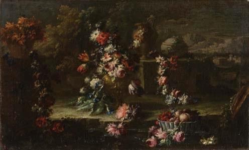 vaso con fiori tralci fioriti e cestino di frutta in un giardino by gaspare