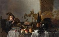 jeune garçon posant un röhmer sur une table au milieu de pièces d'orfèvrerie, de victuailles et de fruits by roelof koets the elder