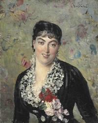 portrait de femme au bouquet de roses by giovanni boldini