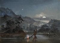 aborigines fishing by torchlight by thomas tyrwitt balcombe
