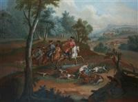 scène de chasse à courre au renard: l'hallali by michel barthelemy olivier
