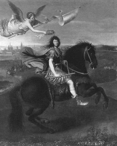 portrait équestre de louis xiv couronné par la renommée by rené antoine houasse