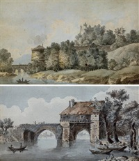 le pont de vernonvue (+ vue d'un château, various sizes; 2 works) by alexis nicolas perignon the elder