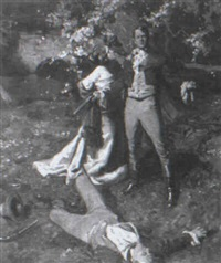 woman rushing to side of the victor of the duel by frederic a. anderson