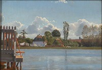 summer day at hornbæk lake by frants peter didrik henningsen