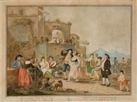 couple de danseurs de tarentelle entourés de musiciens dans la baie de naples (+ cortège festif avec des musiciens dans une calèche; pair) by alessandro d' anna