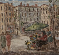 flower seller and figures in a city square by sara kolb danner