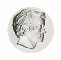 portrait of thomas carlyle, in profile to the right by thomas woolner