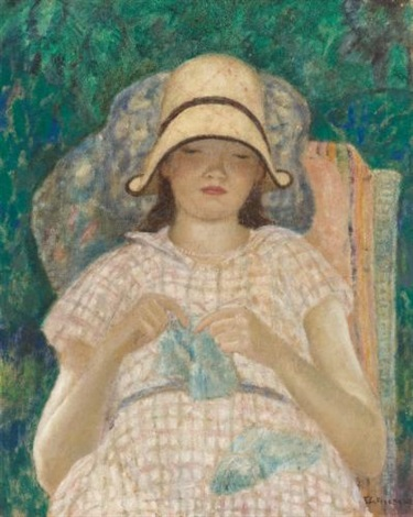 girl knitting by frederick carl frieseke