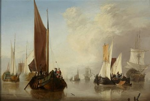 calm seas with fishing boats and man o war by jan van os