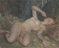 reclining female nude by thomas cantrell dugdale