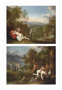a wooded river landscape with diana and her nymphs bathing and a wooded river landscape with a nymph being chastened by a satyr (a pair) by daniel vertangen