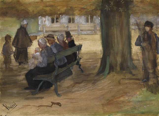 PEOPLE SITTING ON A BENCH IN BEZUIDENHOUT THE HAGUE by Vincent vanGogh