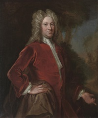 portrait of charles, 9th lord elphinstone in a red velvet coat, in a landscape by william aikman
